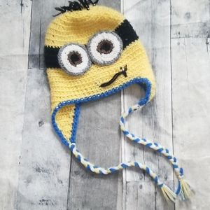 Kids Minion hand knitted winter hat